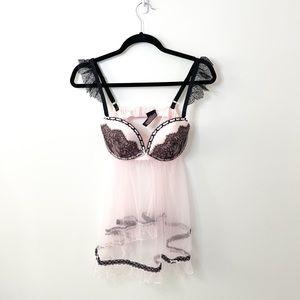 Victoria's Secret Pink & Black Lace Sheer Lingerie Slip Size 36C
